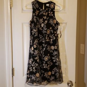 Calvin Klein Black Gold Silver Party Dress Size 2